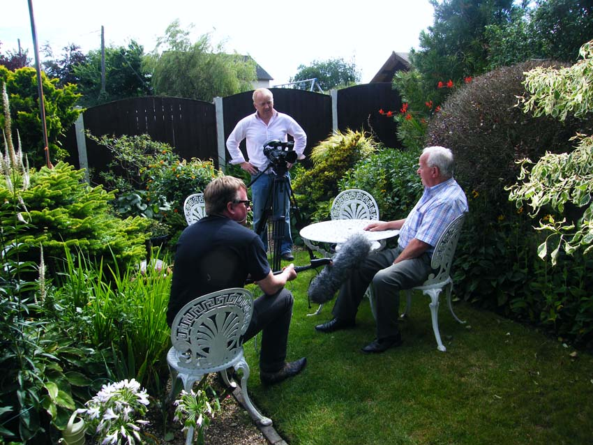 Filming for website in Charlie Wilkins' garden